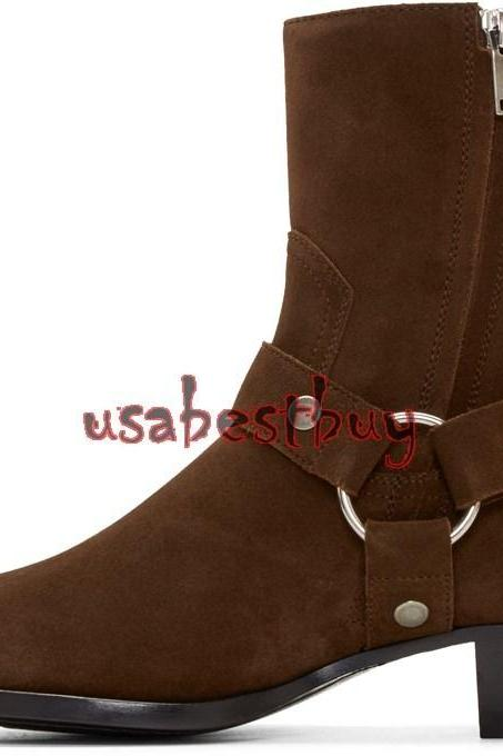 New Handmade Latest Style High Ankle Suede Leather Dark Brown Boots, Men boots