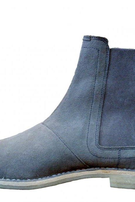 New Handmade Mens Gray Chelsea Suede Leather Boots with Crepe Sole, Men Boots