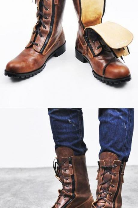 New Handmade Mens Military Style Superb Leather Boots Long Men Boots Rubber Sole