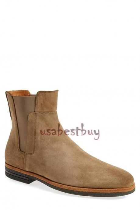 New Handmade Latest Style Beige Leather Chelsea Boots, Men Stylish leather boots