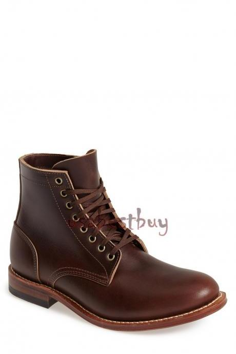 New Handmade Oxford Style Brown Leather Ankle Boots, Men Stylish leather boots