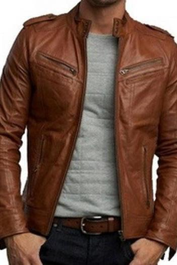 Handmade New Men Stylish Cool Design Brown Leather Jacket, Men Leather jacket