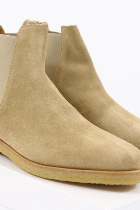 New Handmade Mens Beige Chelsea Suede Leather Boots, Men Leather Boot Crepe Sole