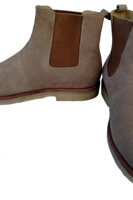 New Handmade Mens Beige Chelsea Suede Leather Boots,Men suede leather boot Crepe