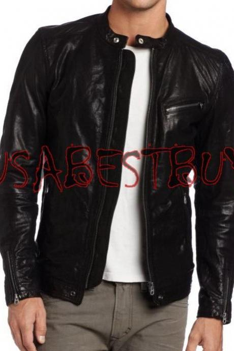 Handmade New Men Stylish Classic Buckle Back Bomber Leather Jacket, Biker Jacket