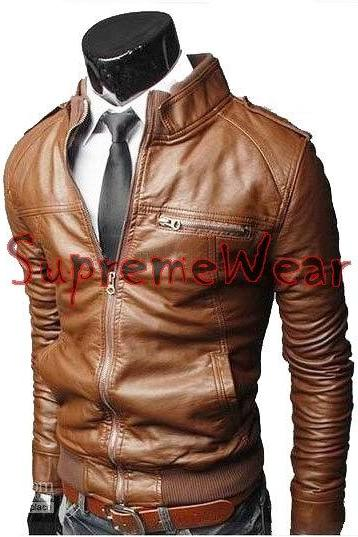Handmade New Men Rib Style Slim Fit Leather Jacket, Men leather jacket, Leather