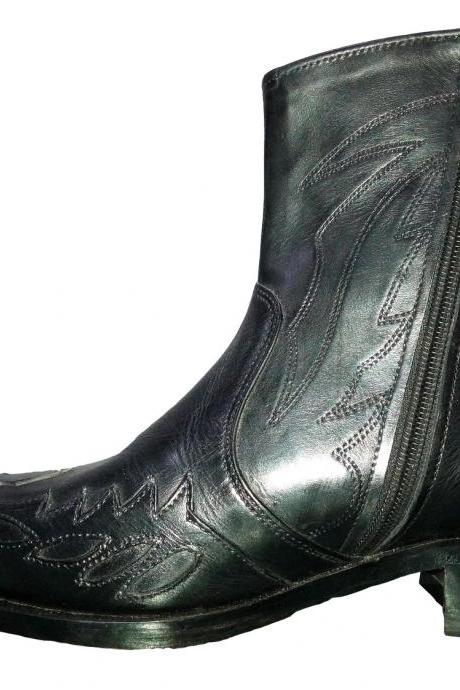 New Handmade Mens Black Cowboy Antique Style Western Boots, Rare Cowboy Boots