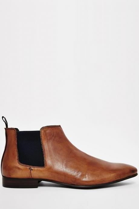 New Handmade Mens Tan Brown Chelsea Real Leather Boots, Men leather boot