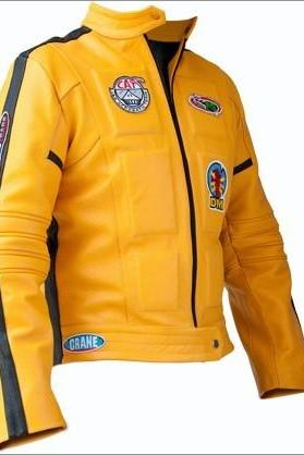 Handmade KILL BILL UMA THURMAN MOVIE MEN LEATHER JACKET, YELLOW COLOR JACKET