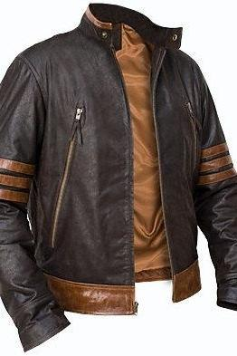 Custom Handmade X-Men Wolverine leather jacket, xmen brown leather jacket