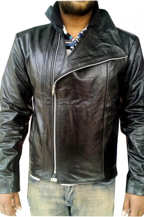 Handmade New Men High Collar Soft Leather Jacket, Men leather jacket, Leather ja