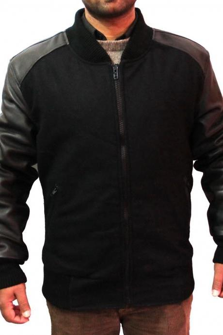 Handmade New Men Stylish Fabricated with Leather Sleeve Bomber Jacket