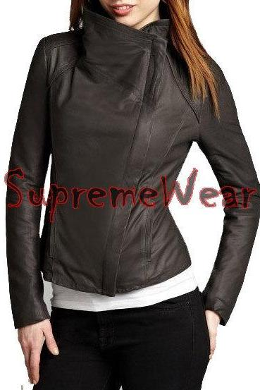 New Handmade Women Large Collar Superb Leather Jacket, Women leather jacket, Lea
