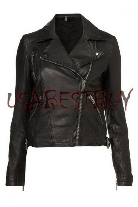 New Women's Black Brando Style Leather Jacket XS To 6XL
