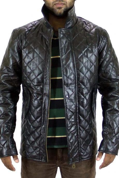 Handmade New Men Stylish Quilted Winter Leather Jacket, Biker Jacket