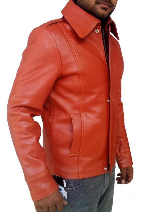 Handmade New Men Stylish Slim Fit Brown Leather Jacket, Men leather jacket, Leat