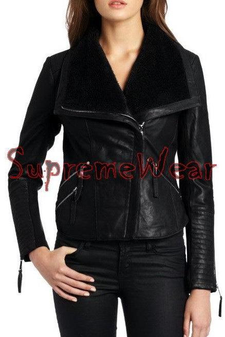 New Handmade Women Stylish Fur Inside Collar Leather Jacket, Women leather jacke