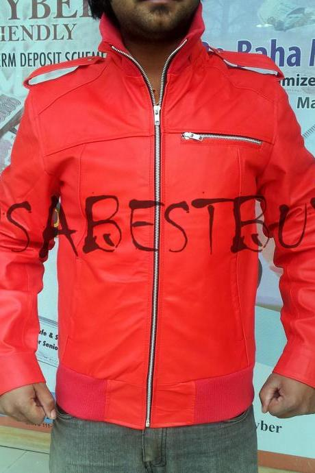 Handmade New Men Stylish Ribbed Chic Red Leather Jacket, Men Biker jacket