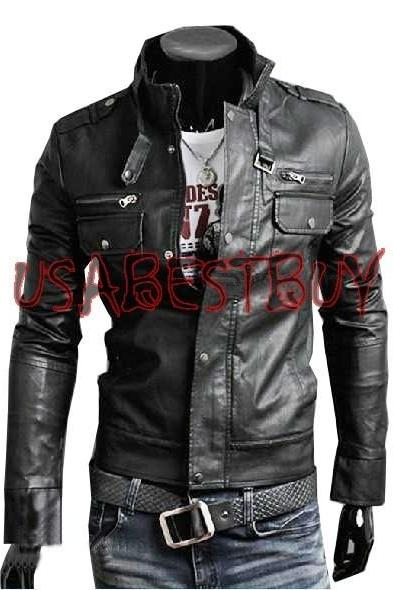 Handmade New Men Latest Belted Collar Bomber Leather Jacket, Men leather jacket
