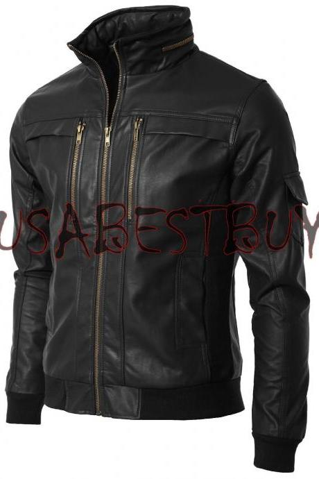 Handmade New Men Zip Encircled Collar Bomber Leather Jacket, Men leather jacket