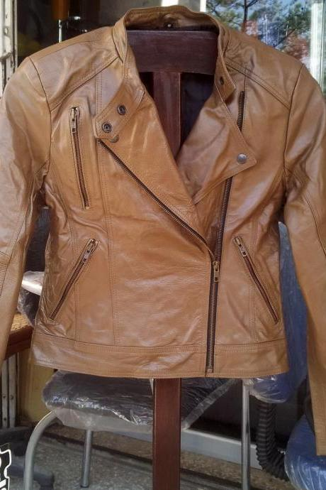 New Handmade Women Brando Collar Brown Chic Leather Jacket, Women leather jacket