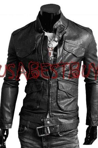 Handmade New Men Stylish Front Pockets Bomber Leather Jacket, Men leather jack