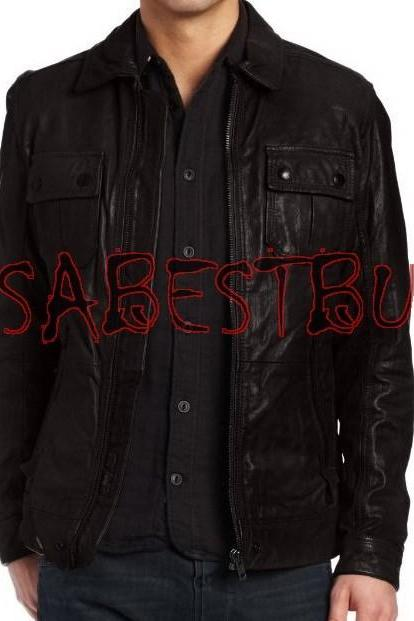 Handmade New Men Stylish Strap Pocket Classic Leather Jacket, Fashion Jacket