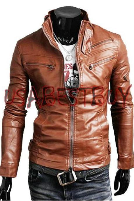 Handmade New Men Stylish Stretch Panel Back Leather Jacket, Men leather jacket