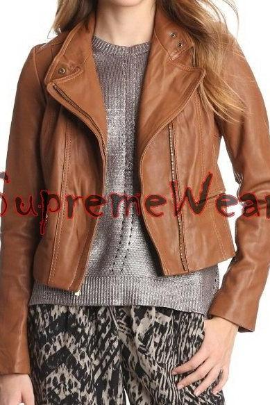 New Handmade Women Classic Decent Style Leather Jacket, Women leather jacket, Le