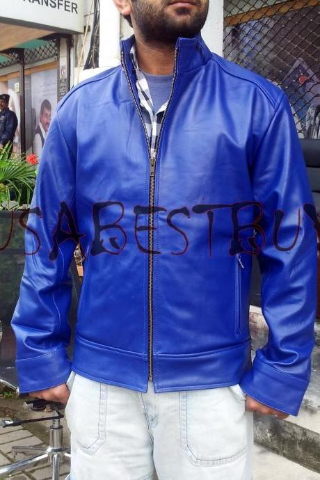 Handmade New Men Simple Classic Blue Leather Jacket, Men Leather jacket