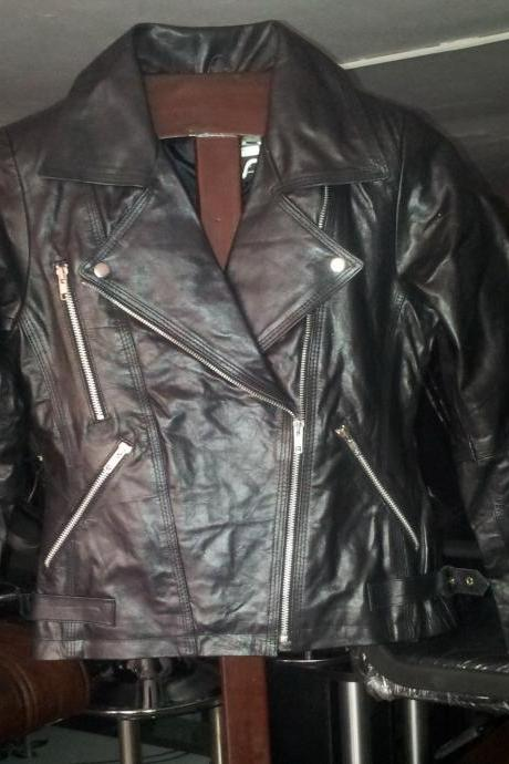 New Handmade Women Slim Fitted Brando Style Leather Jacket