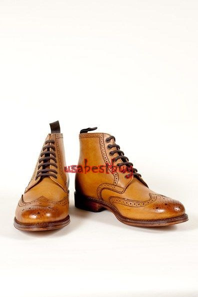 New Handmade Brogue Style Genuine Leather Boots, Men light brown ankle boots