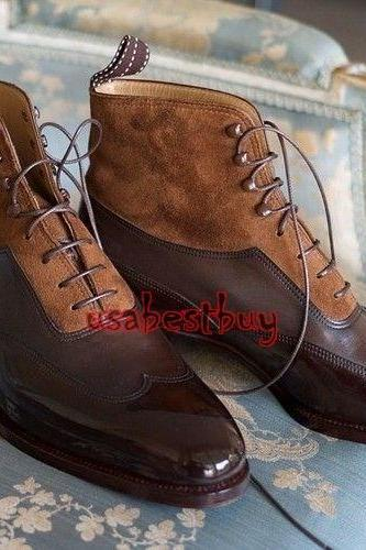 New Handmade Latest Style Suede and Calf Leather Boots, Men Brown Leather boots