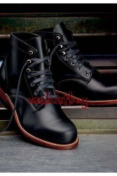 New Handmade Men Latest Style Real Leather Black Ankle Boots, Men leather boots