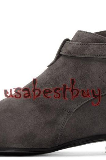 New Handmade Jodhpur Style Ankle Suede Leather Grey Boots, Men leather boots