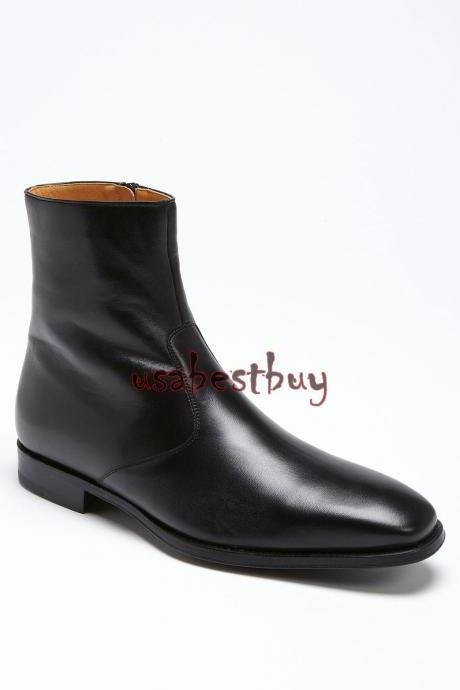 New Handmade Latest Style Simple Black Leather Ankle Boots, Men leather boots