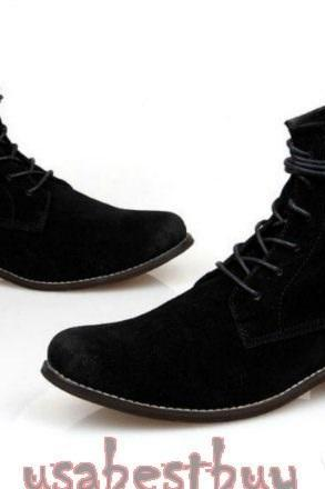 New Handmade Oxford Superb Style Black Suede Leather Boots, Men leather boots