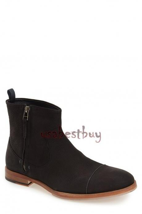 New Handmade Latest Style Black Real Leather Ankle Boots, Men leather boots