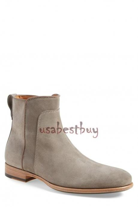 New Handmade Latest Style Grey Suede Leather Ankle Boots, Men leather boots
