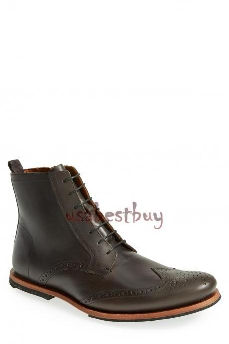 New Handmade Brogue Style Brown Leather Ankle Boots, Men Stylish leather boots