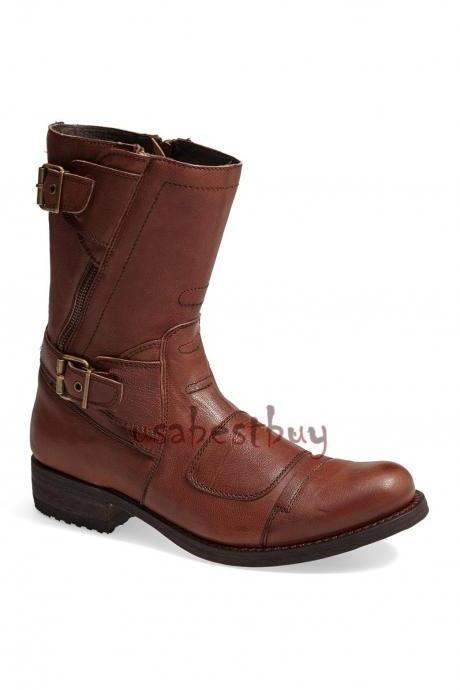 New Handmade Real Leather Ankle High Boots, Men Latest leather boots with Strips