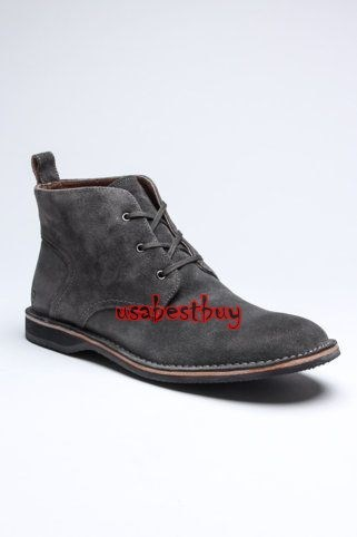 New Handmade Chukka Style Gray Suede Leather Boots with Leather Sole, Suede Boot