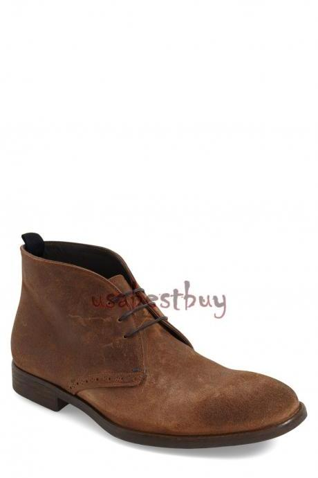 New Handmade Chukka Style Brown Suede Leather Boots, Men new leather boots