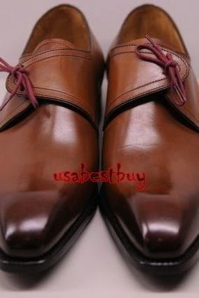 New Handmade Latest Monk Style Brown Genuine Leather Shoes , Men leather Shoes