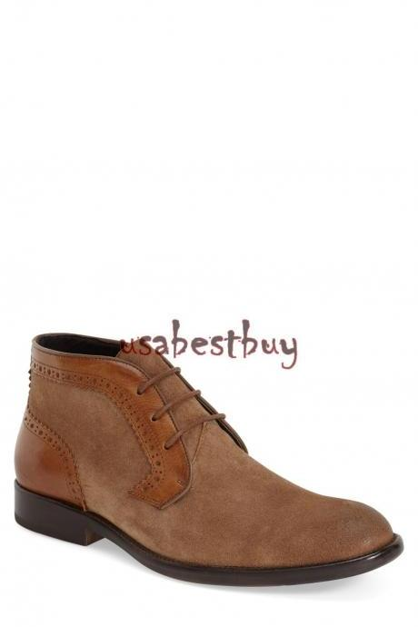 New Handmade Chukka Double Tone Style Brown Leather Boots, Men leather boots