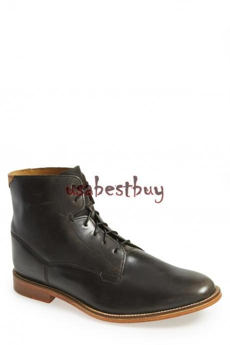 New Handmade Simple Style Genuine Leather Boots, Men Black leather boots