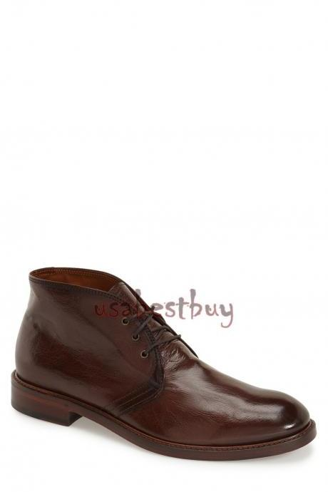 New Handmade Chukka Superb Style Genuine Leather Boots, Men Brown leather boots