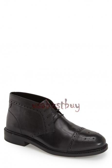 New Handmade Chukka Brogue Style Genuine Leather Boots, Men real leather boots