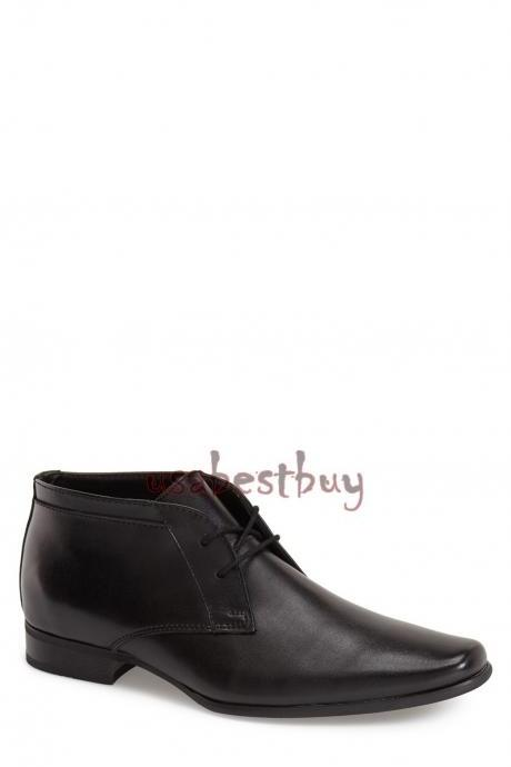 New Handmade Chukka Simple Fine Genuine Leather Boots, Men Black leather boots
