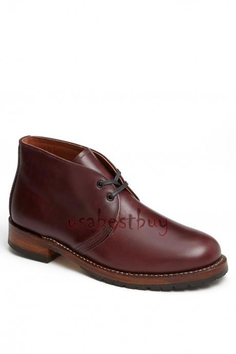 New Handmade Chukka Superb Style Real Leather Boots, Men Burgundy leather boots